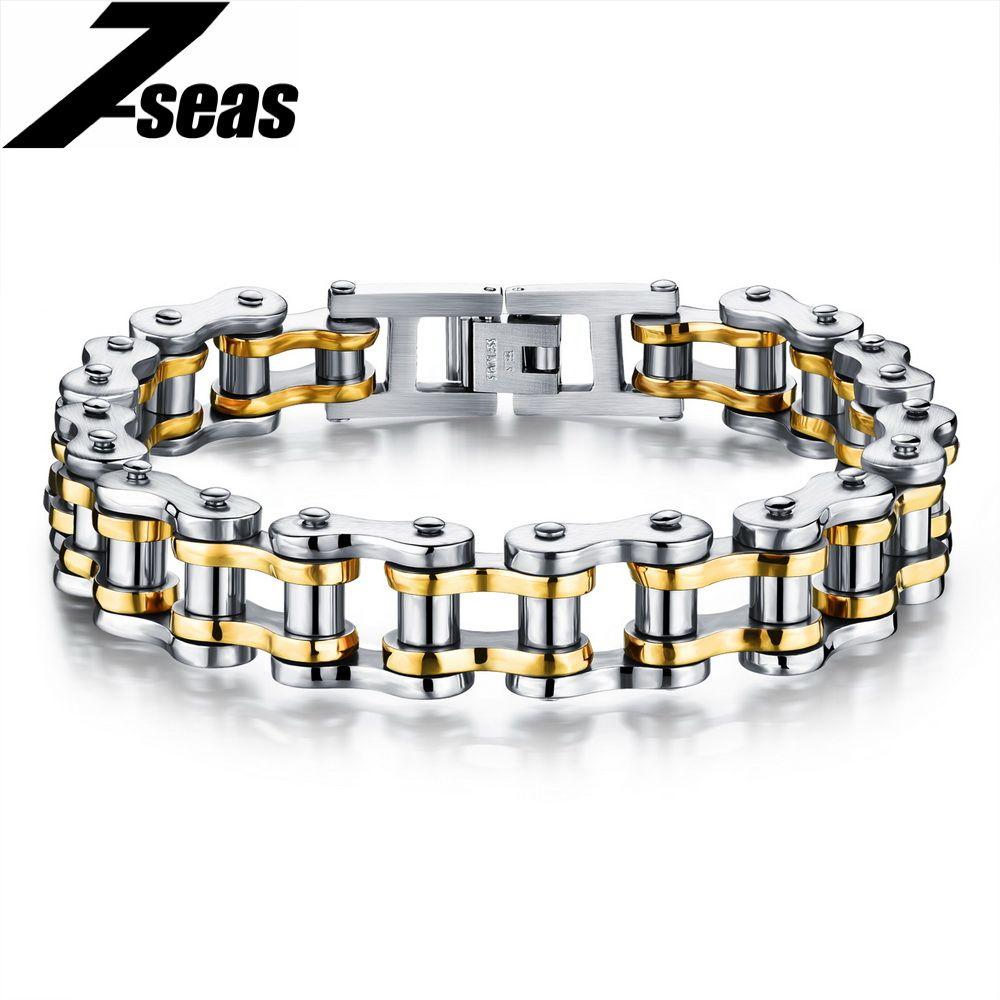 Cool Men Biker Bicycle Motorcycle Chain Men's Bracelets & Bangles Fashion 4 Color 316L Stainless Steel Jewelry,JM781J