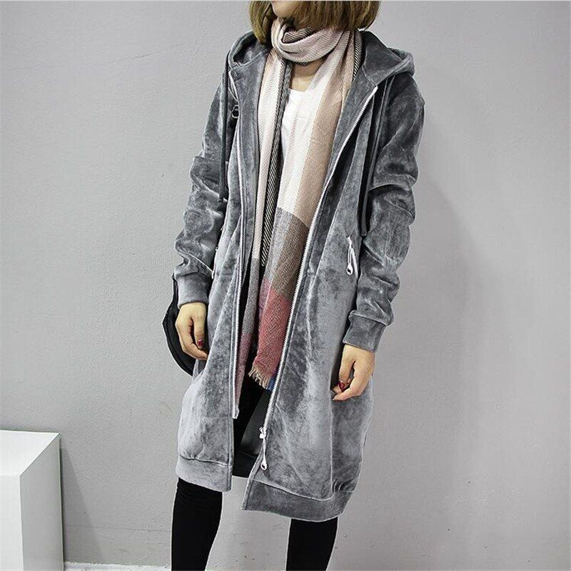2017 Autumn New Open Velvet Women Hooded Basic Coats jacket Casual Lady Winter Long Fashion Black Winter Jacket Women A3386