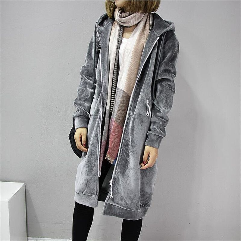 2018 Autumn New Women Thick Warm Hooded Basic Coats jacket Casual <font><b>Lady</b></font> Winter Long Fashion Black Winter Fleece Jacket A3386