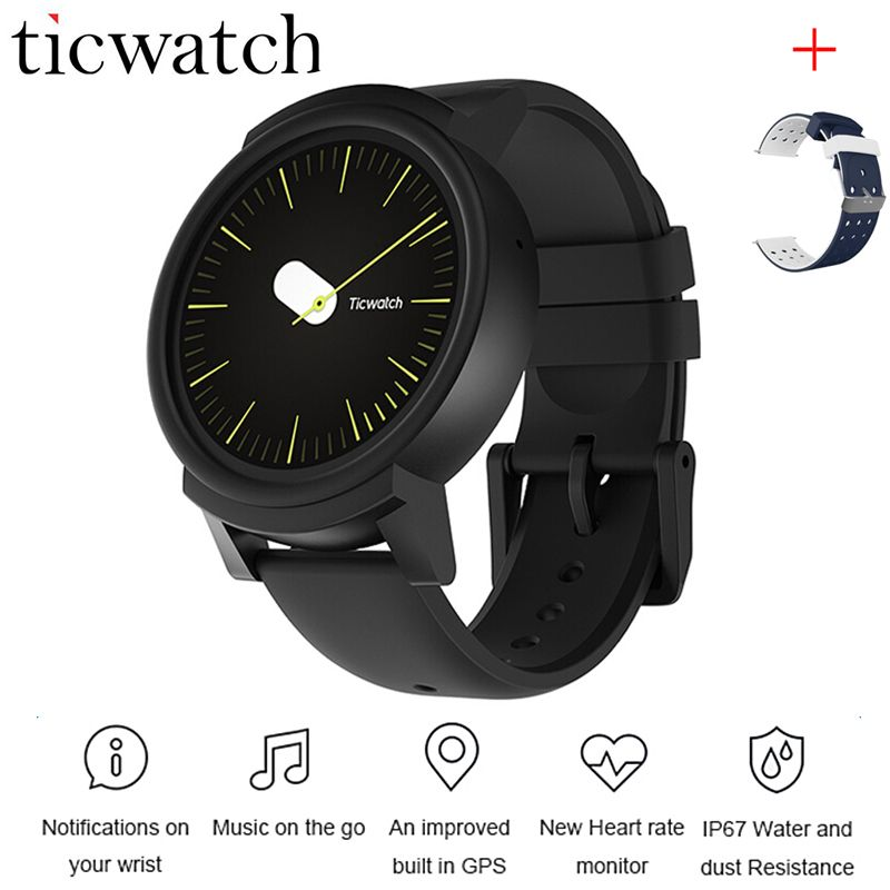 Ticwatch E Expres Smart Watch Phone Android Wear OS MT2601 Dual Core Heart Rate Monitor WIFI GPS Waterproof + One Free Strap