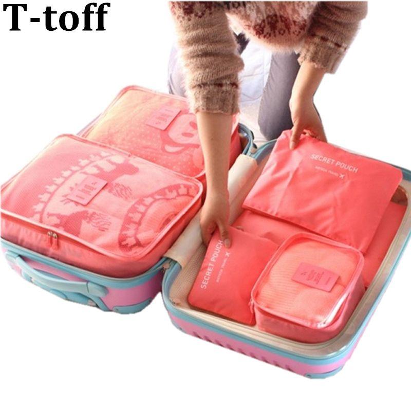 Nylon emballage Cube sac de voyage système Durable 6 pièces un ensemble grande capacité de unisexe vêtements tri organiser sac