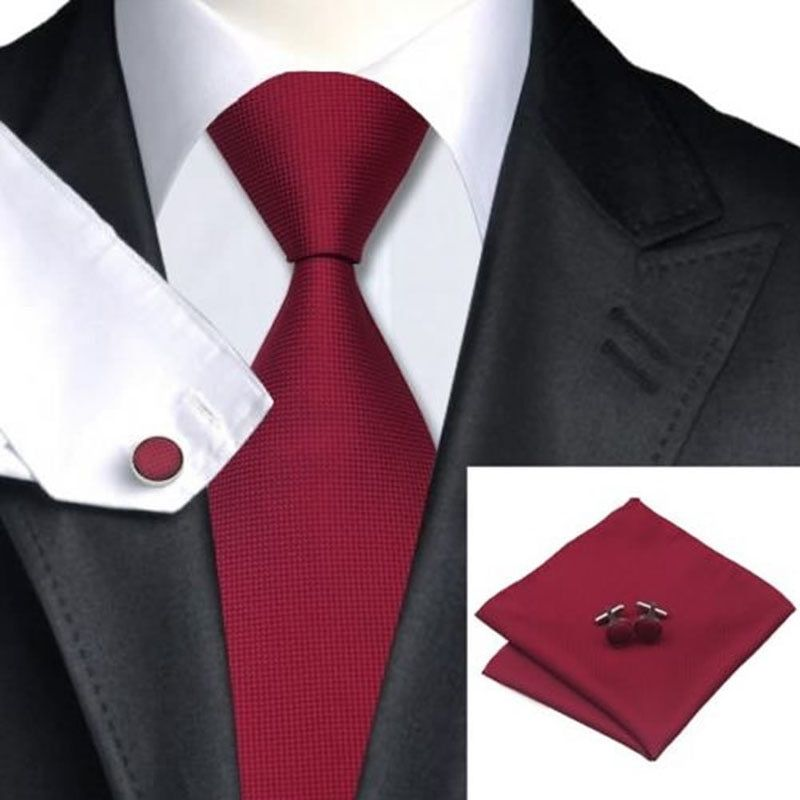 Seide gewebt Krawatte Handgefertigte Herren Krawatte Manschettenknöpfe und Taschentuch Set Hanky Geschenk
