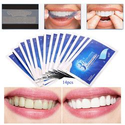 28 Pcs/14 Pair 3D Gel Teeth Whitening Strips Oral Hygiene Care Advanced Teeth Strips Whitening Dental Bleaching Tools