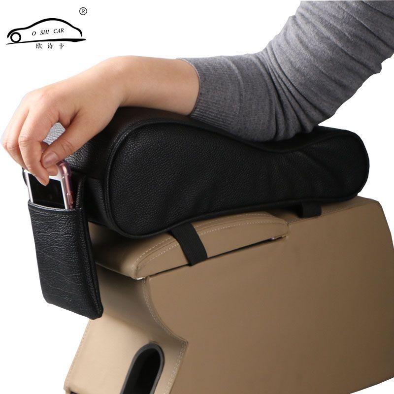 Car <font><b>Universal</b></font> Armrest Box Mats Car Interior Armrest Pad Set PU Leather Styling Armrest Box Pad Armrest Top Mat Liner
