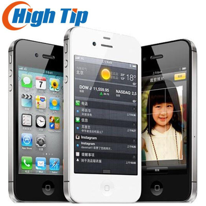 Usine Unlocked Apple iphone 4S 8 GB 16 GB 32 GB 64 GB Mobile téléphone Dual core Wi-Fi GPS 8.0MP 3.5