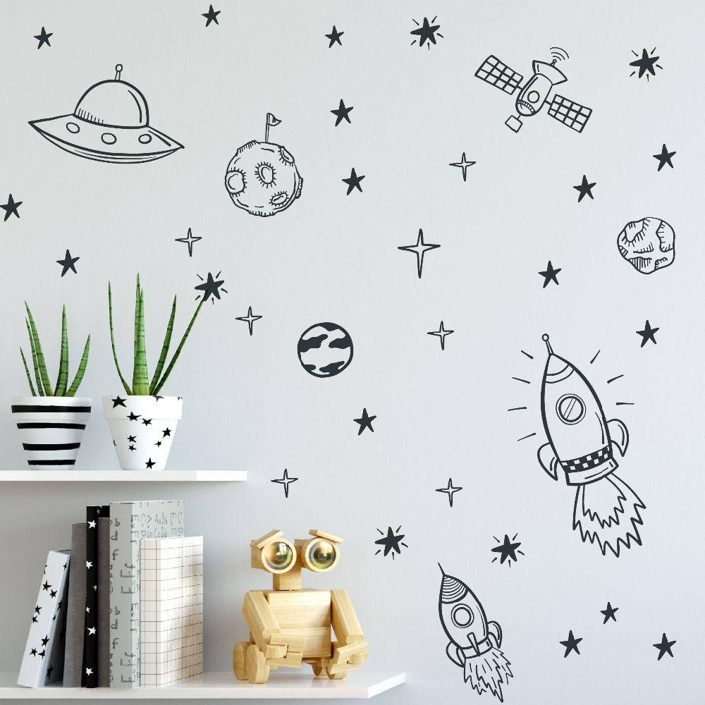 Espace Stickers Muraux Pour Chambre de Garçon L'espace Pépinière Sticker Mural Décor Fusée Astronaute Vinyle Autocollant Planète Décor Enfants ZB163
