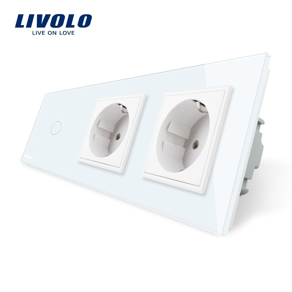 Livolo EU Standard New Power Socket, AC 220~250V,White Crystal <font><b>Glass</b></font> Outlet Panel, 2Gang Wall Sockets with Touch Switch