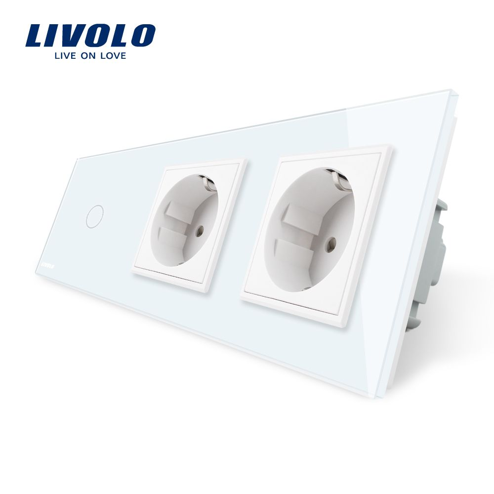 Livolo EU Standard New Power Socket, AC 220~250V,White Crystal Glass Outlet Panel, 2Gang Wall Sockets with Touch Switch