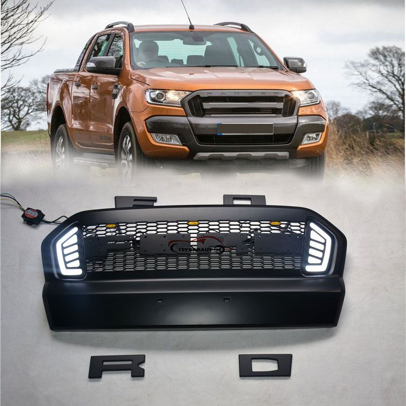 FOR 2015 2016 2017 ford ranger ABS grille with LED black front grille surrounds trim suitable Ford Ranger wildtrak