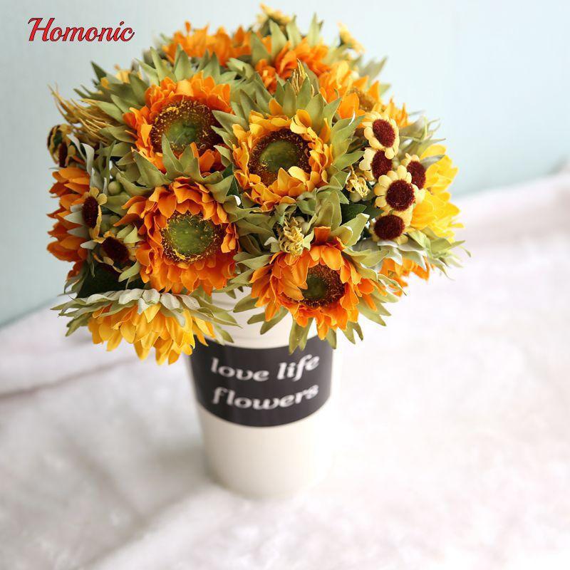 Gelb bouquet Silk Sonnenblume künstliche blumen dekorative sonnenblumen 5 köpfe tisch anordnung dekoration zubehör P40