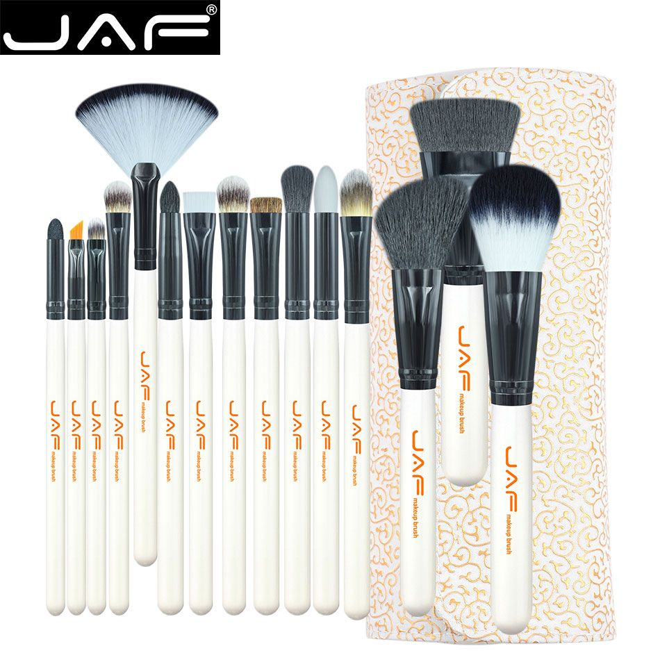 JAF Studio 15-piece Makeup Brush Kit Super Soft Hair PU Leather Case Holder Make Up Brush Set J1504C-W