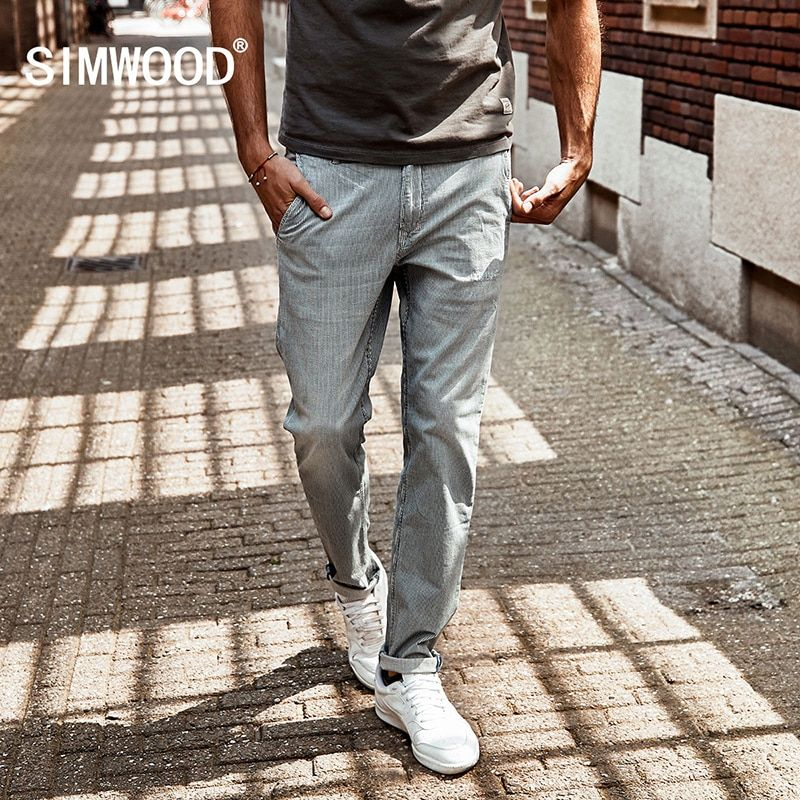 SIMWOOD 2018 New Autumn Spray painting Striped Jeans Men skinny Thin Fashion Slim Fit Denim Trousers SJ6080