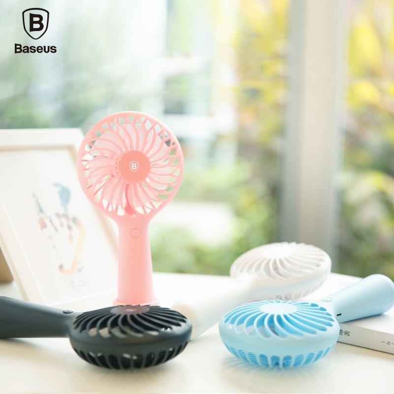 Baseus Protable Handheld Fan 3-Speed Mini USB Rechargeable Fan with 1500mAh Powerbank Battery Quiet Desktop Personal Cooling Fan