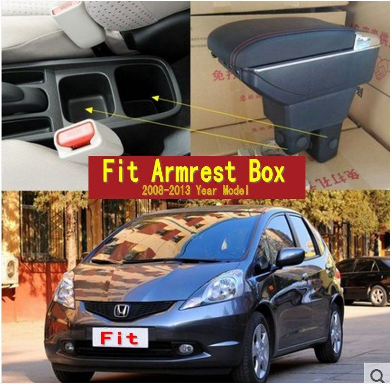 For Honda Fit Jazz 2nd generation armrest box central Store content Storage box with cup holder ashtray USB interface 2008-2013