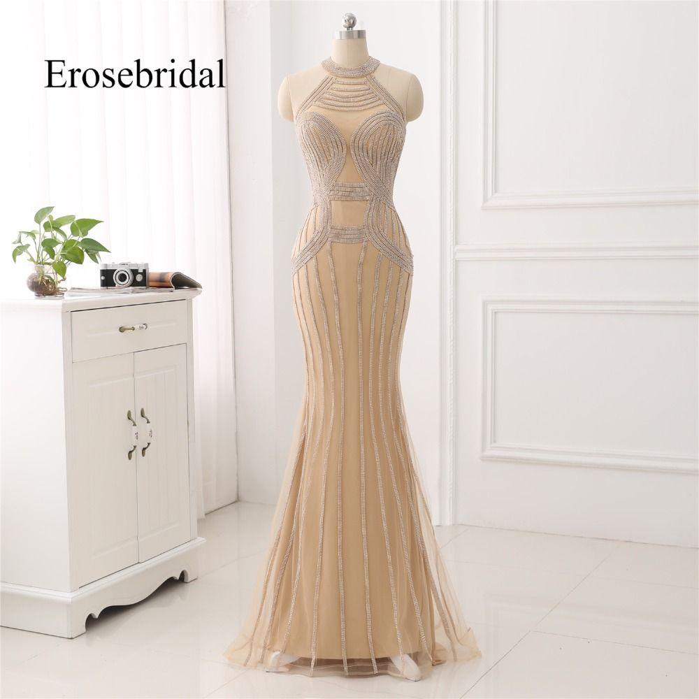 Elegante Lange Abendkleid 2019 New Mermaid Perlen Abendkleid Halter Farbe robe de soiree In Lager 48 Stunde Verschiffen ZC6-2