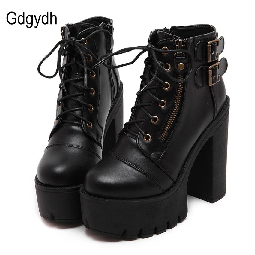 Gdgydh Hot Sale Russian Shoes Black Platform Martin Boots Women Zipper Spring High Heels Shoes Lace Up Ankle Boots Size 35-40