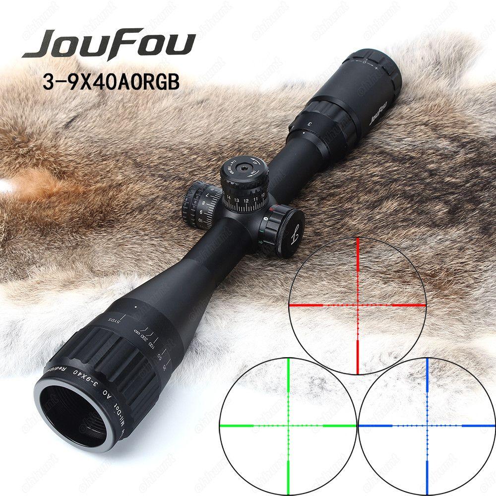JouFou 3-9x40 AOE Охота прицел Миль Dot RGB подсветкой тактический оптики взгляд полный Размеры провод Сетка прицел с кольцами