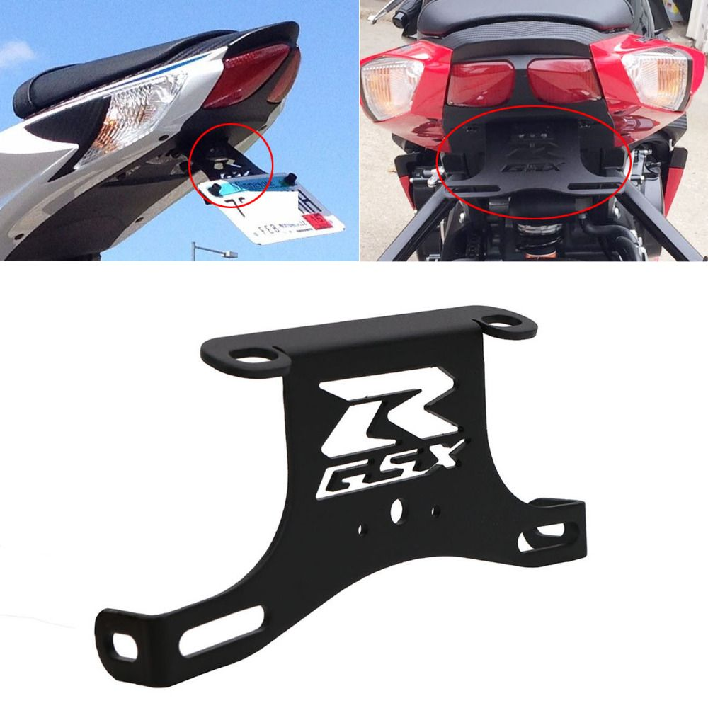 Black Steel Frame Rear Fender License Plate Holder for Suzuki GSXR GSX R 600 750 2006-2010 Motorcycle Accessories #MX011