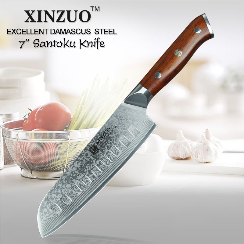 XINZUO 7 ''inch Japanese Chef Knife Damascus Steel Kitchen Knife Cleaver Knives Professional Santoku Knife 58HRC-62HRC Blade