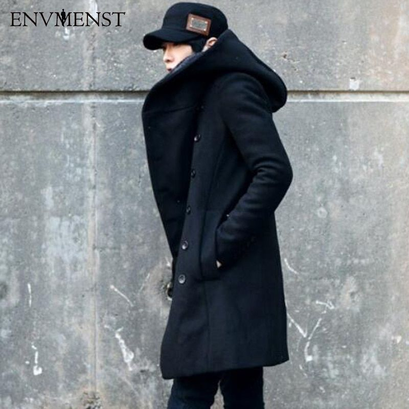 2017 New Korean Fashion Men's Solid Color Hooded Woolen Coat Back Split Long Jacket Coat Man Thicken Slim Hoody