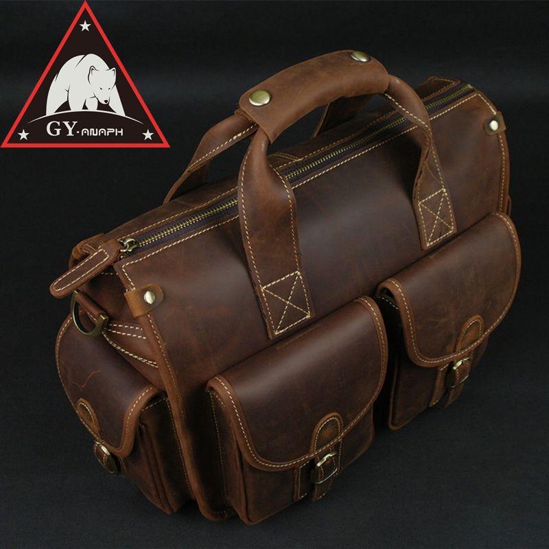 ANAPH Satchel Briefcase/ Crazy Horse Leather Messenger Bag For Men/ Casual Slim Crossbody Bag Attache 13 Inch Laptop Case Coffee