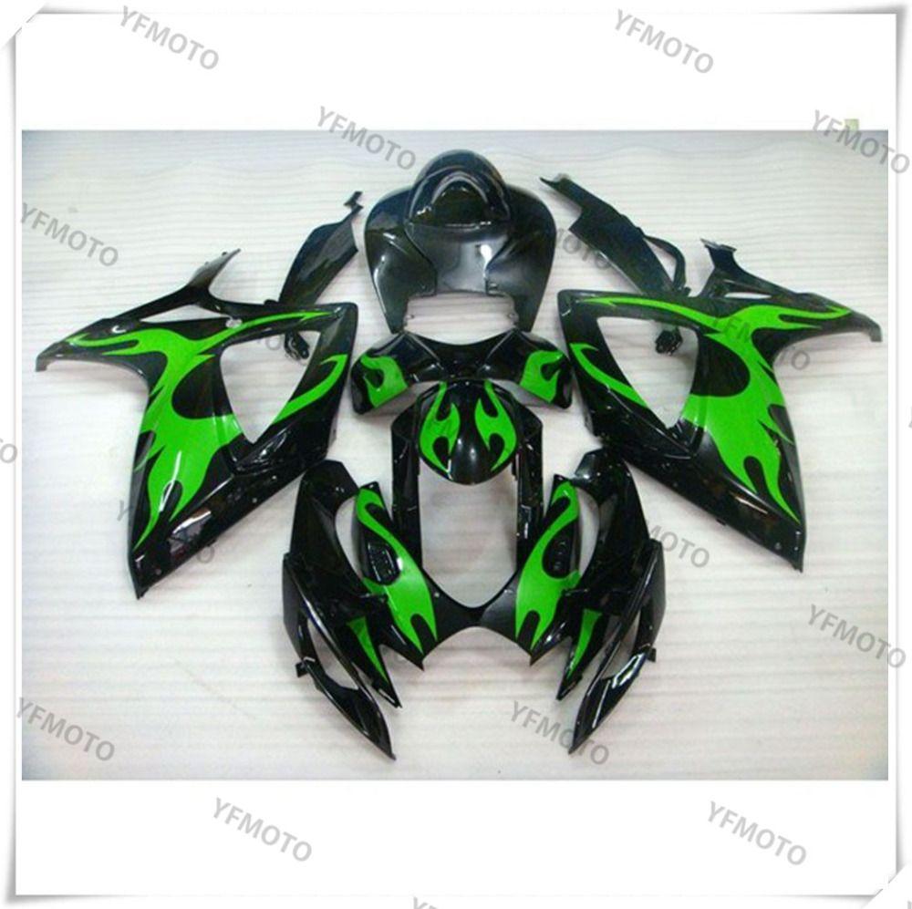 Motorcycle ABS Green Fire Fairing Body Work Cowling For SUZUKI GSXR600-750 GSXR 600 750 K6 2006-2007 +4 Gift