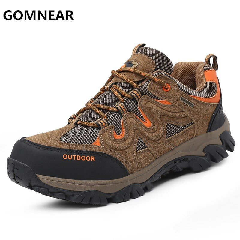 GOMNEAR Men's HIking Shoes New Arrival Big Size Outdoor Mountain Trekking Shoes Male Climbing Camping Cross Country Sport Shoes