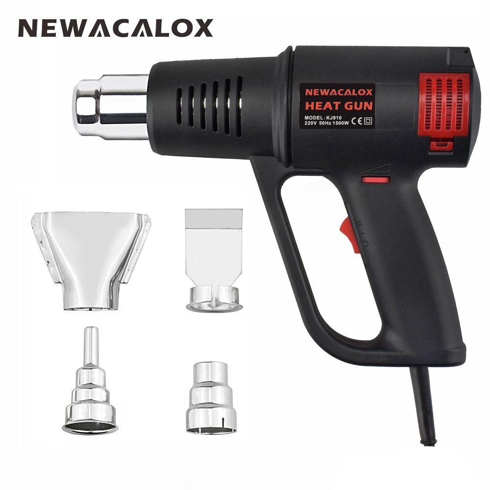 NEWACALOX Industrial Electric Hot Air Gun EU 220V 1500W Electrode-less Thermoregulator Heat Gun Plastic Torch for Car Foil Tools