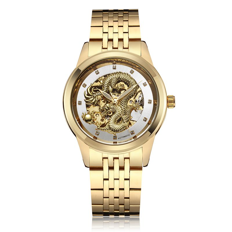 De luxe de Dragon Automatique-Auto-Vent Mécanique Étanche Hommes montre pour homme Squelette Analogique Mécanique montre-bracelet bayan kol saati