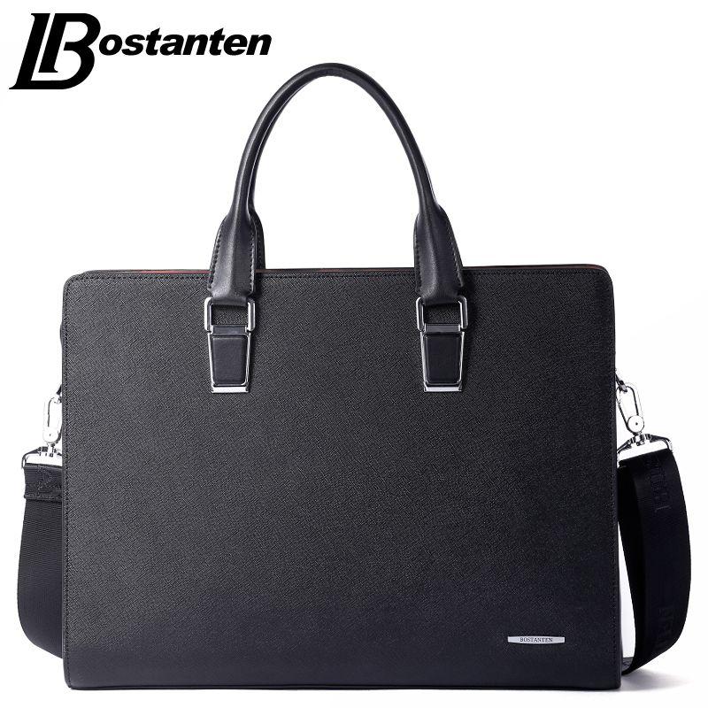 Bostanten Neue Männer Split Leder Aktentasche Laptop 13 zoll Männer Aktentasche Business-tasche Männliche Umhängetasche Umhängetasche Tote Handtasche