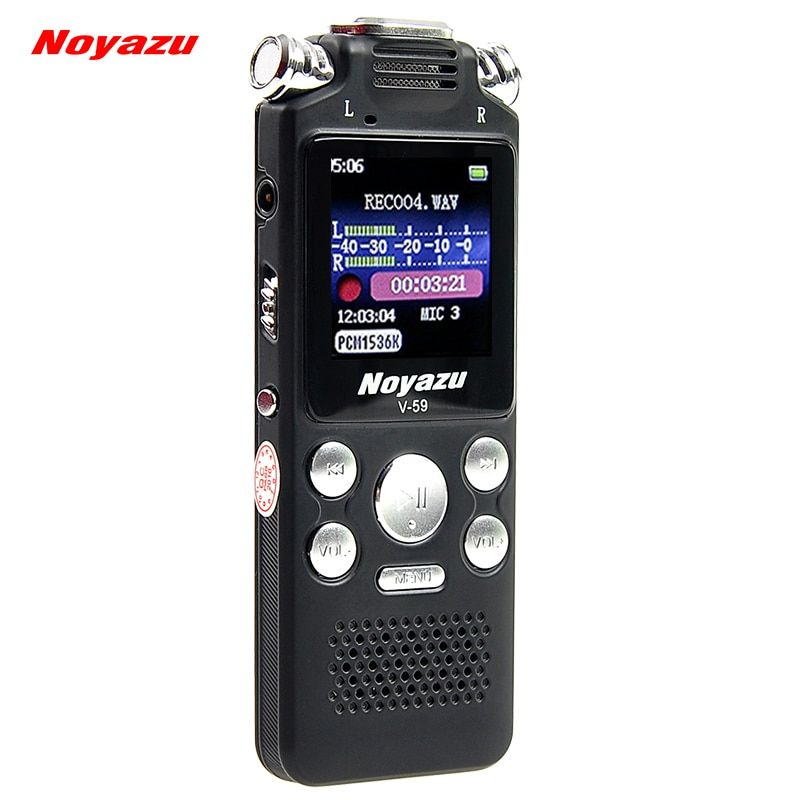 NOYAZU Original V59 Fast Charging 8G/560hrs Recording Capacity Digital Voice Recorder Noise Reduction Dictaphone Mp3, A-B Repeat