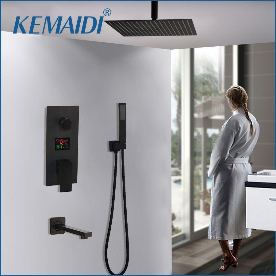KEMAIDI 3-weg Schwarz Digital Dusche Armaturen Set Regen Dusche Kopf Digital Temp Display Mischbatterie Swivel Badewanne Auslauf bad Dusche