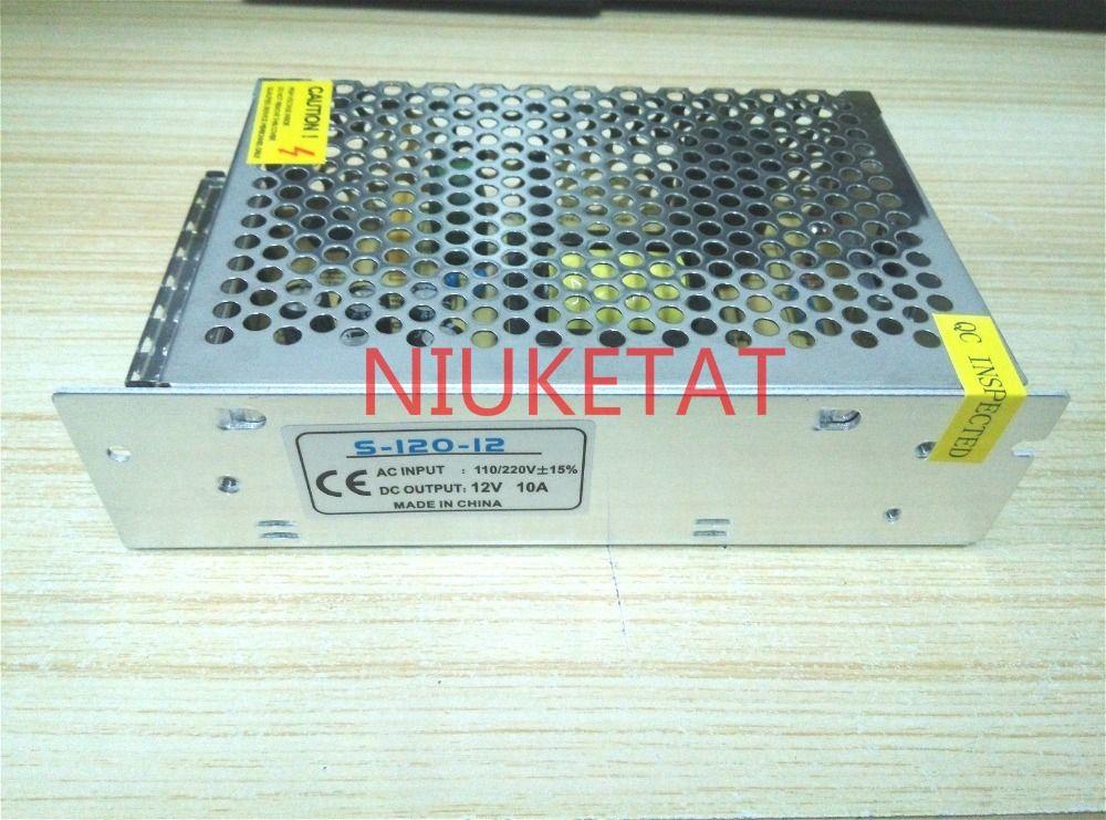 1 pièces DC 12 V 10A 120 W AC 110/220 V 15% S-120-12 alimentation à découpage RGB LED bande 5050/3528 adaptateur secteur 12V10A AC à DC