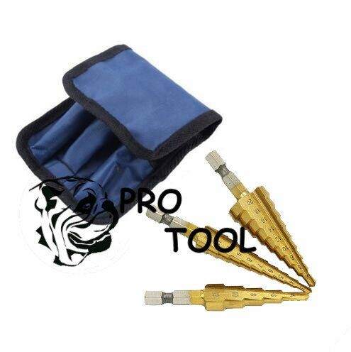 3pc Hss Steel Titanium Step Drill Bits 3-12mm 4-12mm 4-20mm Step Cone Cutting Tools Steel Woodworking Wood Metal Drilling Set
