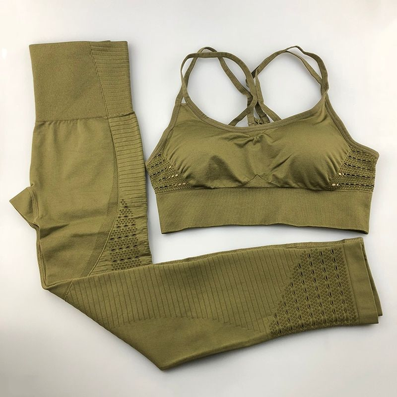 Seamless Yoga Set Women Fitness Clothing Sportswear Woman Gym Leggings Padded Push-up Strappy Sports Bra 2 Pcs Sports Suits