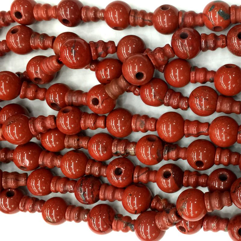 High Quality Natural Genuine Red Jasper Pagoda Tee Buddha Head Tibet Guru Beads Fit Jewelry DIY Necklaces (10 Beads/lot) 04219