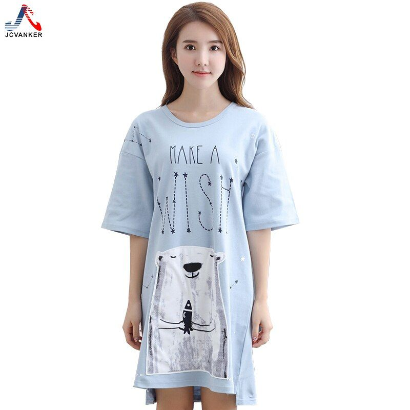 JCVANKER D'été Femmes Chemises de Nuit Ours Blanc Courtes En Coton de Nuit De Nuit Robe de La Maison Intérieur Sommeil Chemises de Nuit Chemise de Nuit