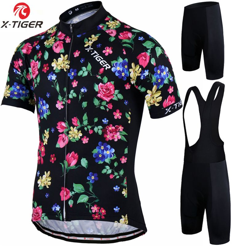 X-Tiger Man Summer Short Sleeve Breathable Cycling Jersey set Mountain Bicycle Wear Quick-Dry Racing Bike Clothing Ropa Ciclismo