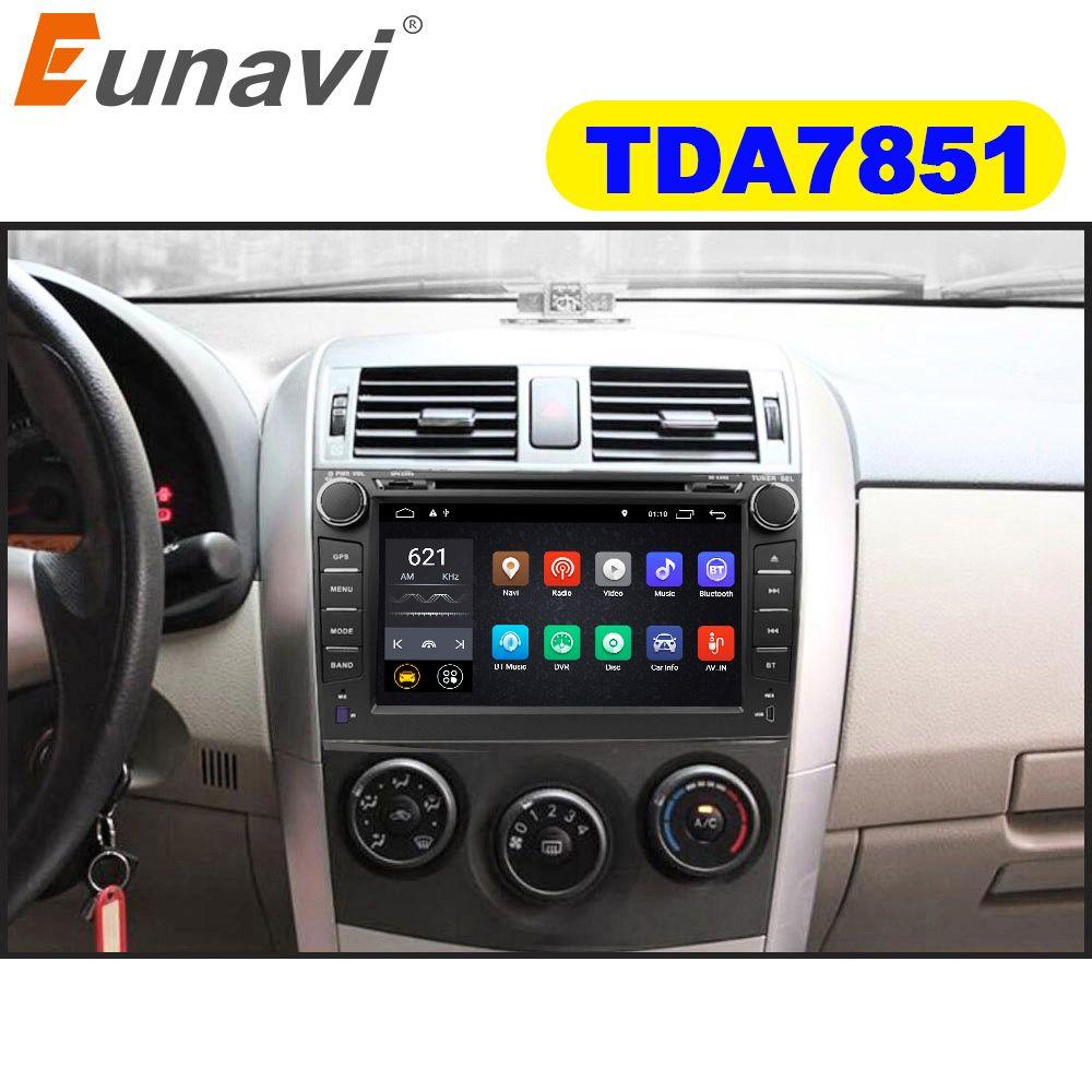 Eunavi 2 din TDA7851 Android 8.0 8.1 lecteur dvd de voiture gps pour Toyota Corolla 2007 2008 2009 2010 2011 8 ''autoradio usb