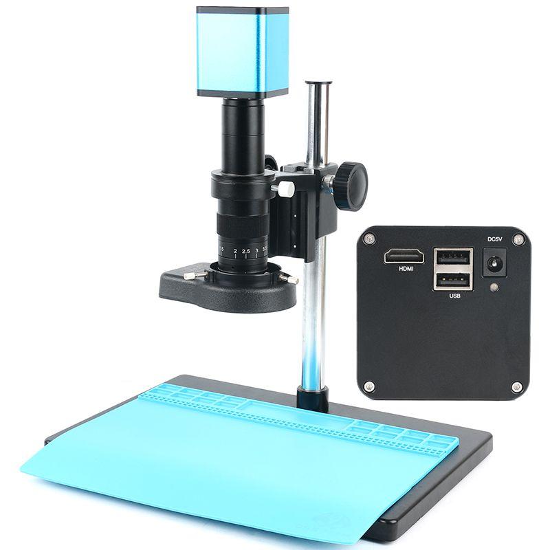 Verbesserte version Industrielle Autofokus Mikroskop kamera bild video aufnahme 120X/180X C-Mount Objektiv + Stand + 144 LED Ring Licht