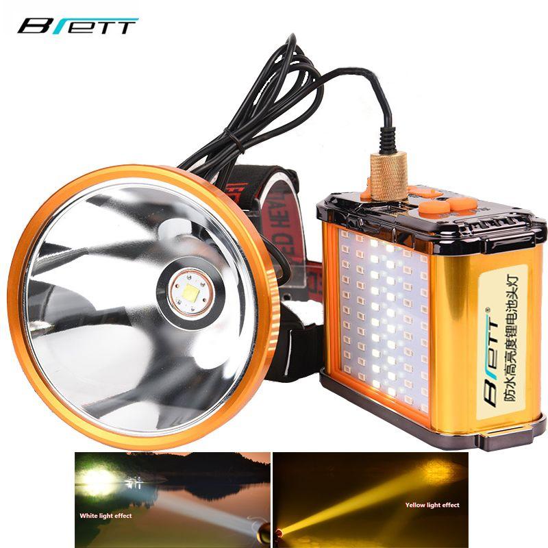 Cree xhp70.2 led scheinwerfer Weiß und gelb licht optional Eingebaute 12 lithium-batterie Direkt aufladen Taschenlampe led