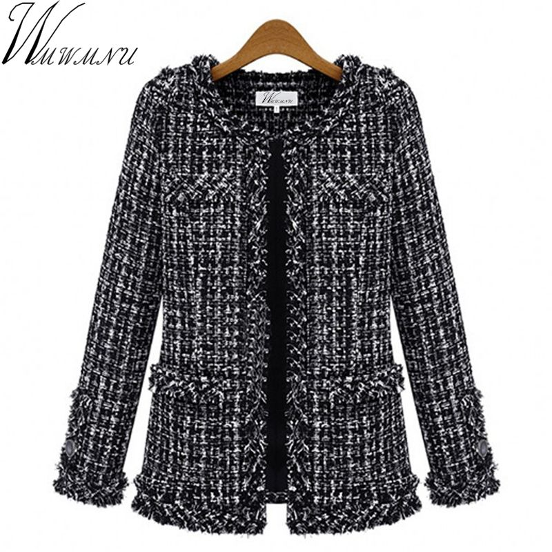 Wmwmnu Autumn winter women jacket Slim thin checkered Tweed coat Large size casual O-Neck Plaid Jacket with pocket outwear ls462