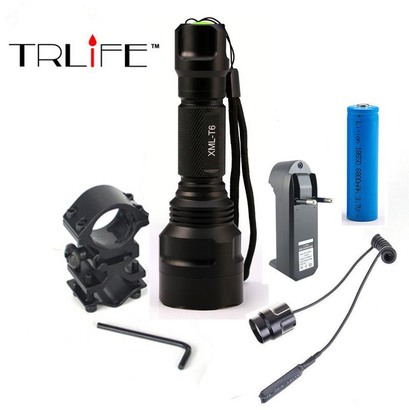 Linterna LED Flashlight XML-T6 8000LM Tactical Flashlight Aluminum Hunting Flash Light Torch <font><b>Lamp</b></font> +18650+Charger+Gun Mount