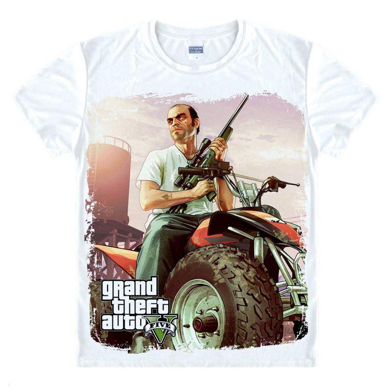 Grand vol Auto jeu GTA 5 hommes été t-shirts Cool et GTA5 hommes T-shirt impression colorée T-shirt en Couples T-shirt drôle tissu