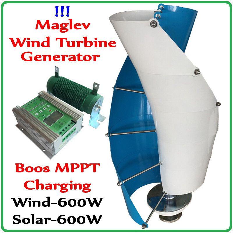 600W Maglev Wind Turbine Generator Vertikale Achse Wind Generator + 1200W Boost MPPT Wind600w Solar 600w Hybrid controller Regler