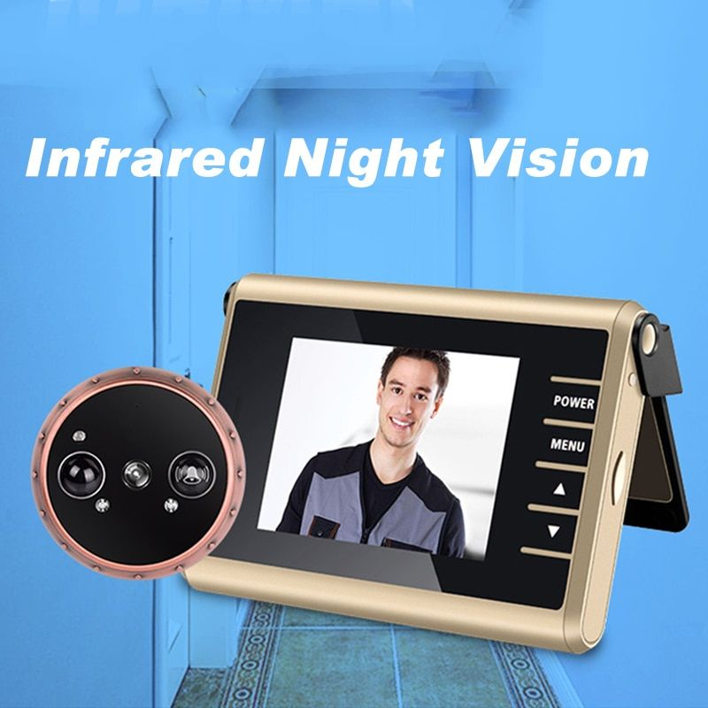 120 Wide Angle View 1.0MP HD Digtial Peephole Camera and PIR Motion Detection auto take Video Recording Wireless Door Peephole