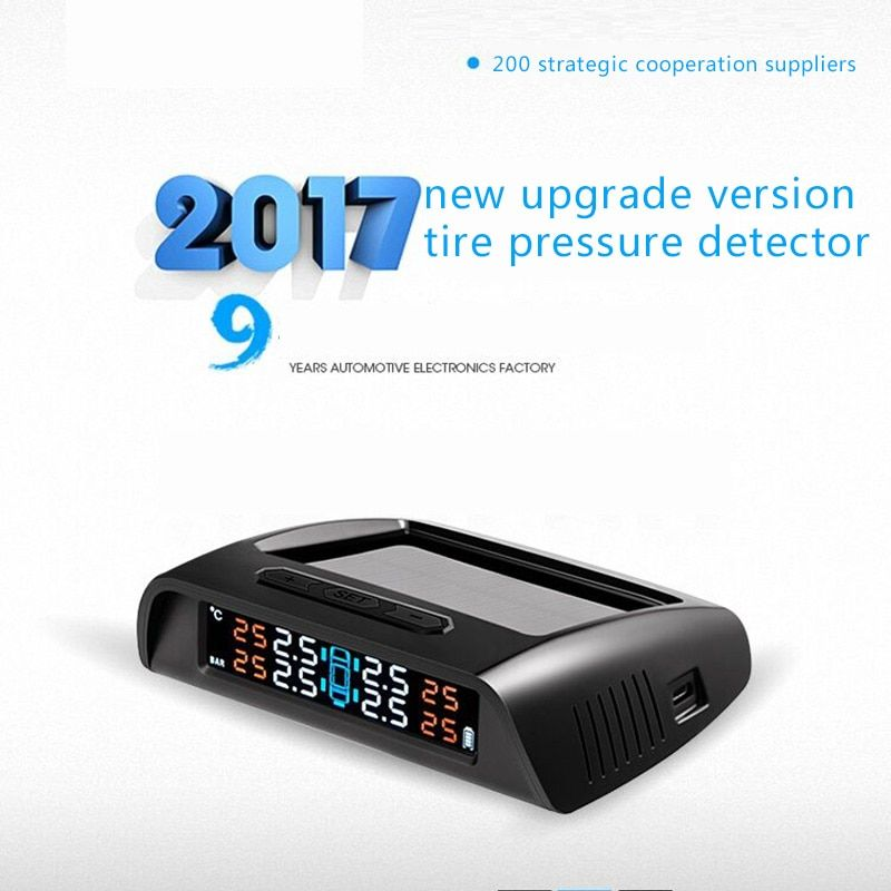 E-show tree TPMS Car Detector Tire Pressure Tempareture Monitor System External Solar Wireless High Accuracy Intelligent Alarm