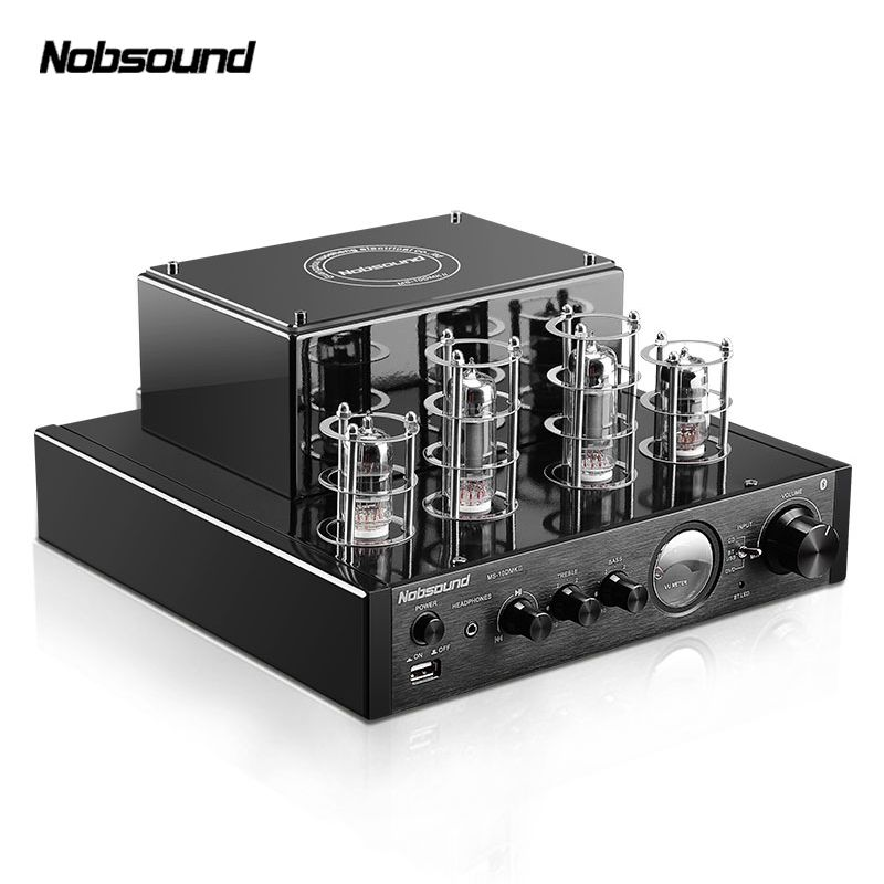 Nobsound MS-10DMKII MP3 HiFi 2.0 Home Audio Bluetooth Vacuum Tube Integrated Amplifier Input USB/AUX Power Amplifier 6P1*2+6N1*2