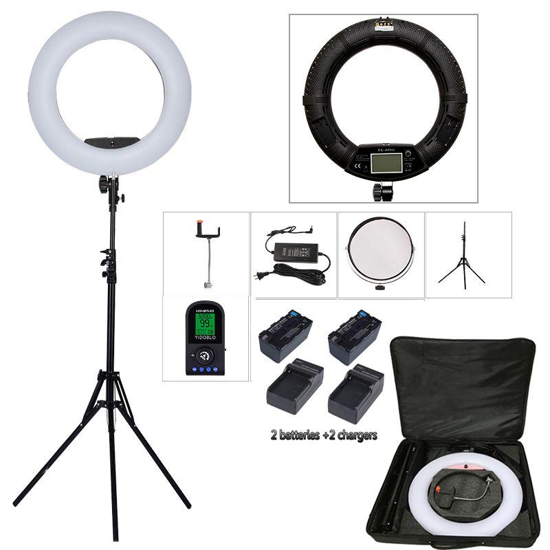 Yidoblo FE-480II Bio-color Ring Lamp 480 LED Lamp Photography Beauty salon nail Makeup selfie Lighting + stand+bag + battery