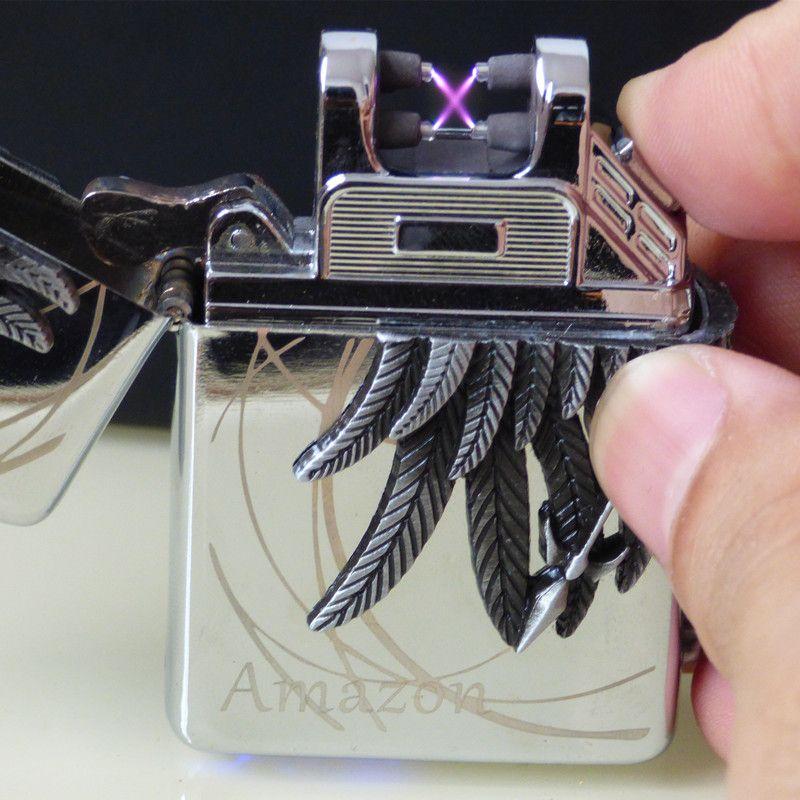 USB Arc Briquets Charge Coupe-Vent En Métal Réservoir de Chasse Guerre En Forme de Creative Tabac Mauvaises Herbes de Fumer Cigarette Briquet